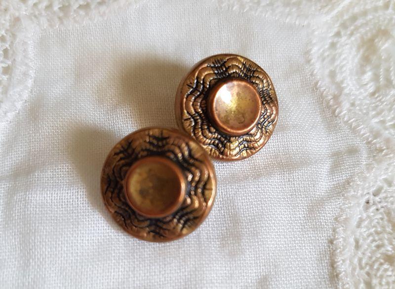 画像1: ヴィンテージ ゴールドメタルボタン 14mm 2個セット (1)