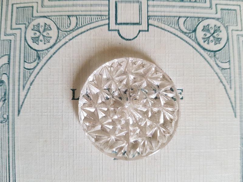 画像1: アンティーク 大きめガラスボタン 28mm (1)