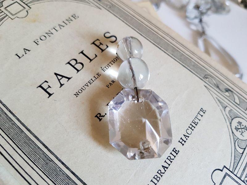 画像1: アンティーク シャンデリアパーツ クリスタル ダイヤ型 (1)