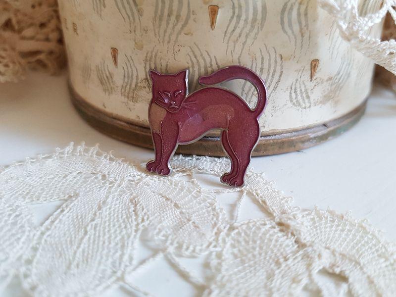 画像1: ヴィンテージ フランス猫のブローチ (1)