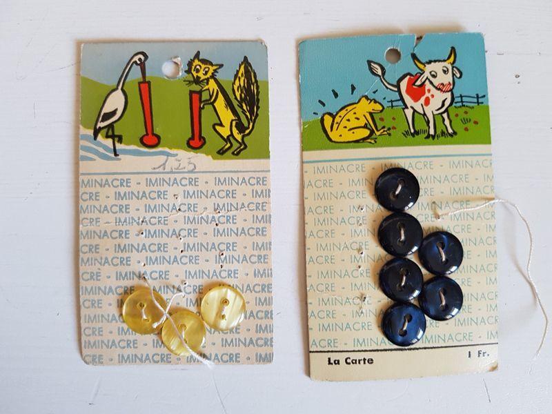 画像1: フランスヴィンテージ Iminacre社の動物柄ボタンシートセット (1)