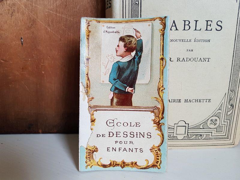 画像1: フランスアンティーク ショコラティエの広告/子ども用デッサン見本 (1)