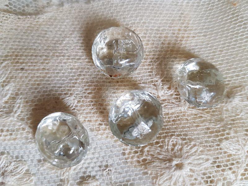 画像1: フランスアンティーク 氷の粒のようなころころガラスボタン14mm 6個セット (1)