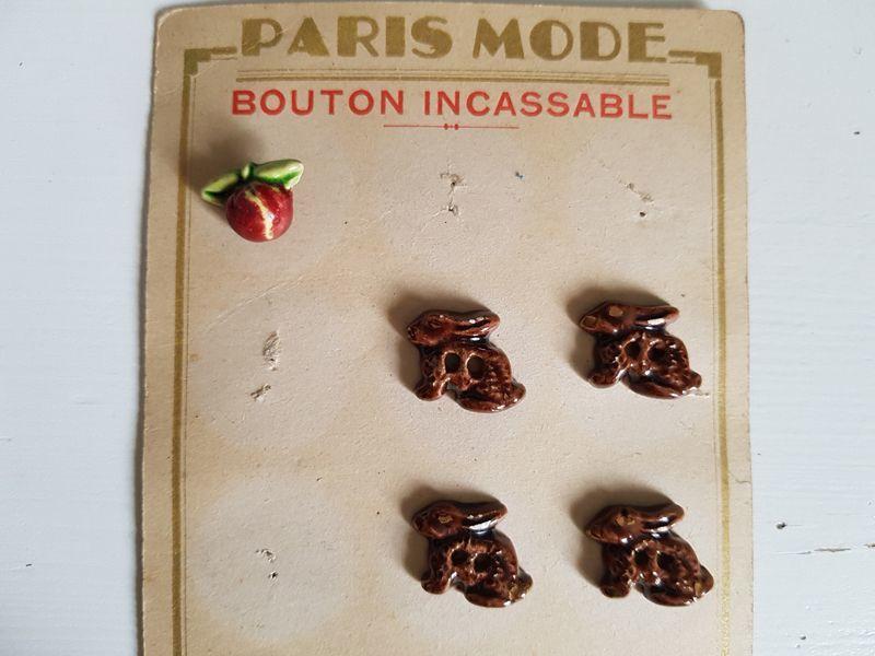 画像1: フランスヴィンテージ 陶器のボタン果実と兎 (1)