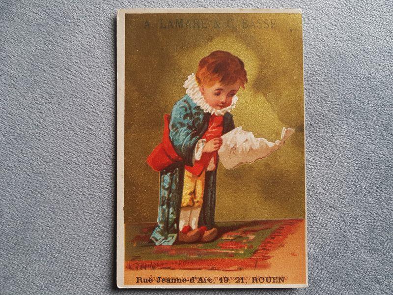 画像1: フランスアンティーク クロモ 読み物をする少年 (1)
