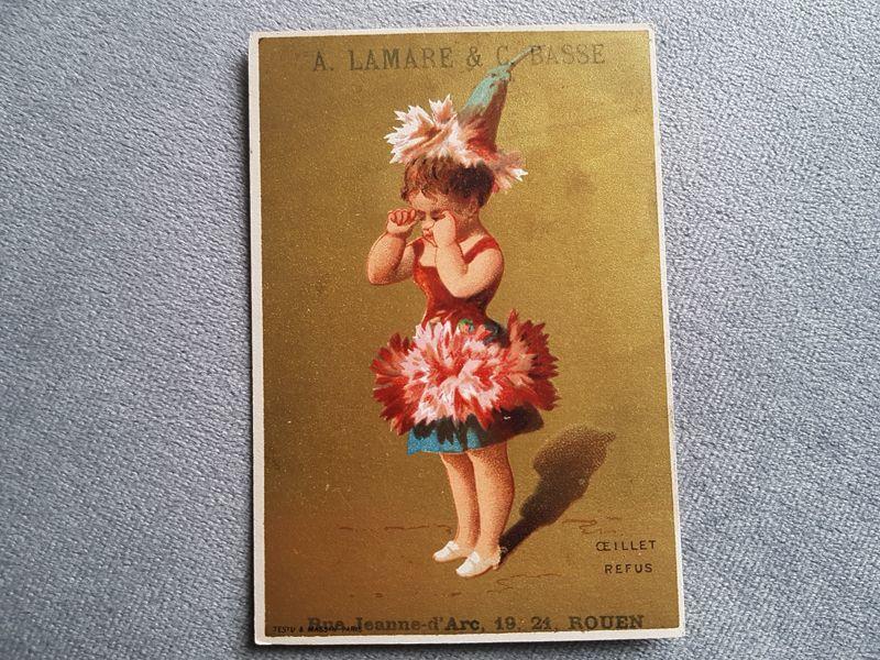 画像1: フランスアンティーク クロモ カーネーションの少女 (1)