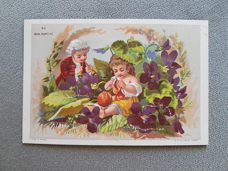 画像1: フランスアンティーク クロモ 編み物をする少女、呼びに来た少年  AU BON MARCHÉ (1)