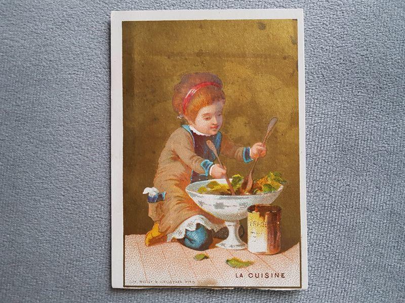 画像1: フランスアンティーク クロモ お料理をする少女 (1)