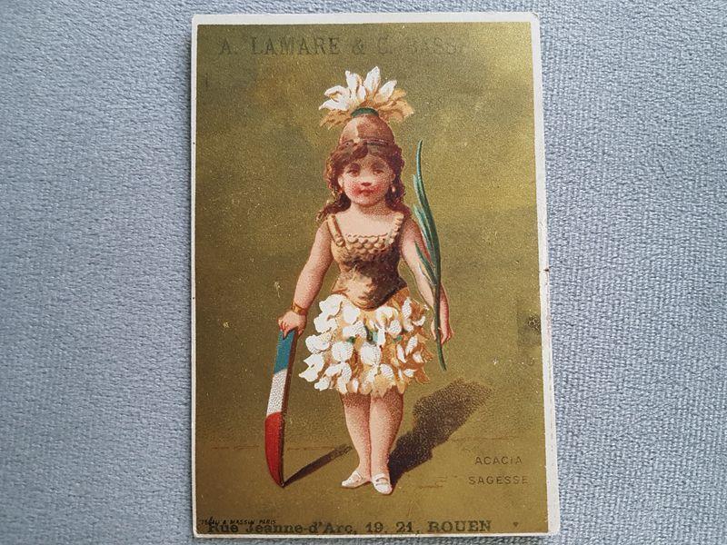 画像1: フランスアンティーク クロモ アカシアの少女 (1)