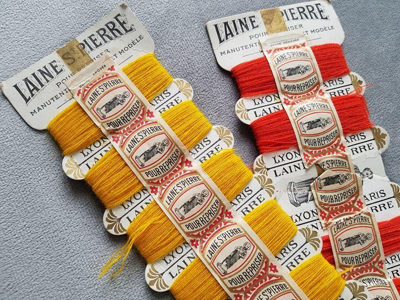 画像1: フランスアンティーク 紙製糸巻き LAINE St-PIERRE 2色セット (1)