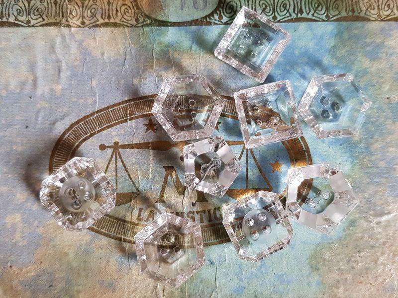 画像1: フランスアンティーク キラキラガラスボタン9個セットアソート (1)