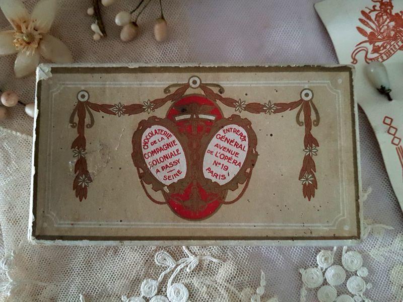 画像1: フランスアンティーク ショコラティエのお菓子箱 (1)
