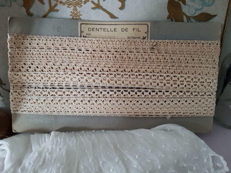 画像1: フランスアンティーク 台紙とラベルつきレースブレード (1)