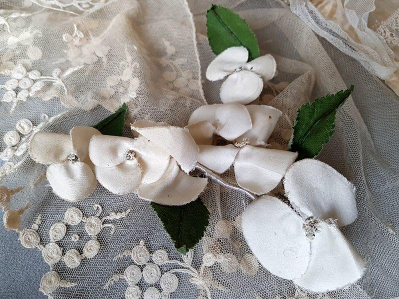 画像1: フランスアンティーク 布花白い紫陽花 (1)