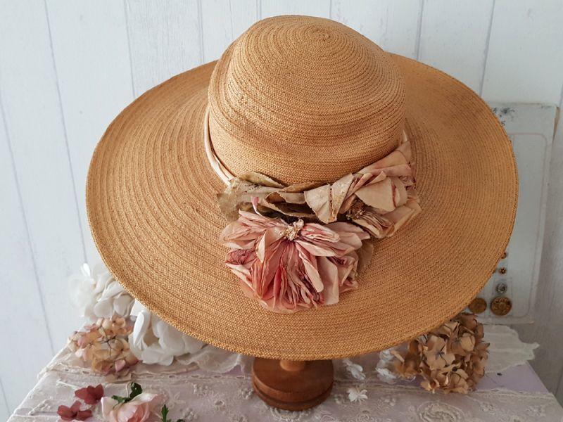 画像1: フランスヴィンテージ コサージュつき麦わら帽子 (1)