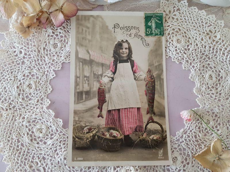 画像1: フランスアンティーク ポストカード Poissons d'Avril (1)