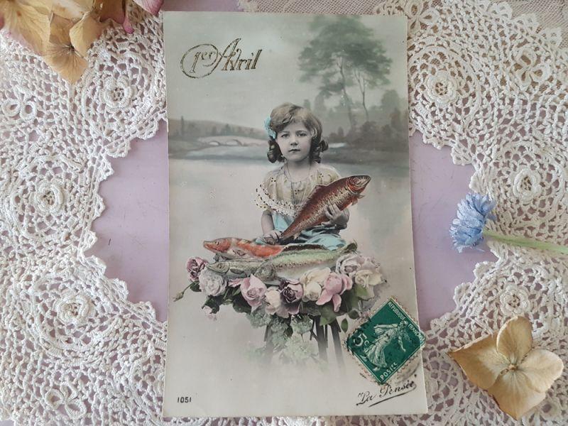 画像1: フランスアンティーク ポストカード 1er Avril (1)