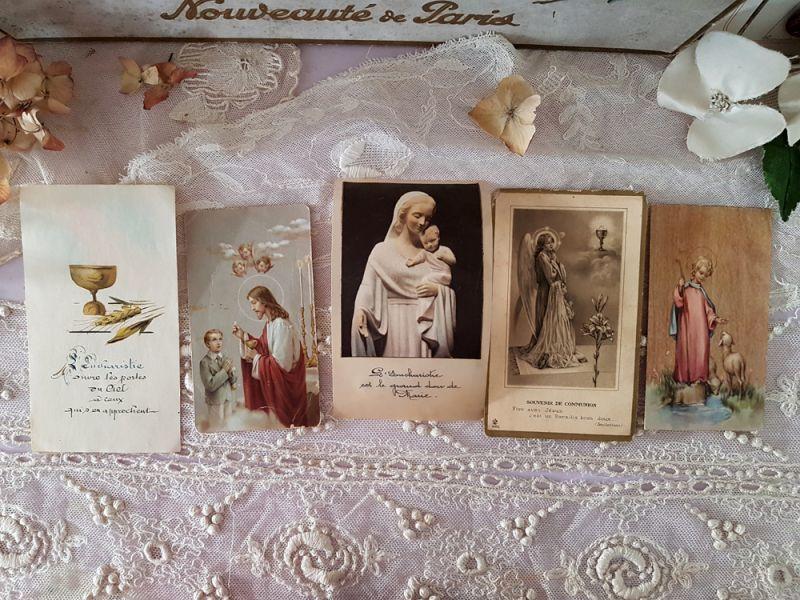 画像1: フランスヴィンテージ コミュニオンのホーリーカード 5枚セット (1)