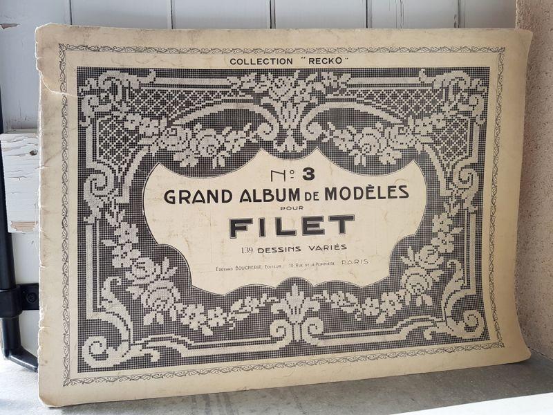 画像1: フランスアンティーク フィレレース図案集 大判サイズ GRAND ALBUM DE MODELES POUR FILET No.3 Edouard Boucherit (1)