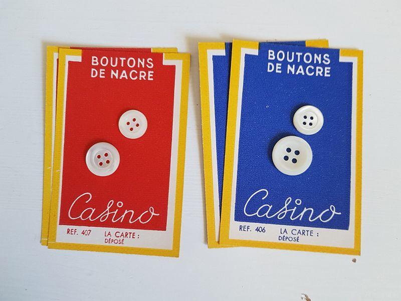 画像1: フランスヴィンテージ Casinoの未使用ボタンシートと貝ボタン (1)