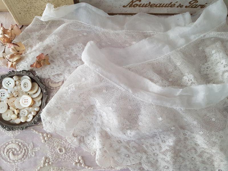 画像1: フランスアンティーク ペチコートの裾 円状ヴァレンシエンヌレース  (1)