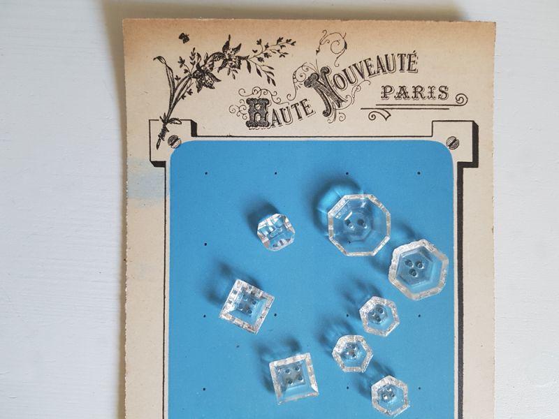 画像1: フランスアンティーク キラキラガラスボタン9個セット+シート (1)