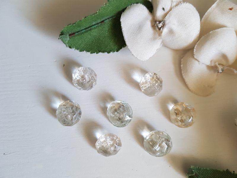 画像1: フランスアンティーク 氷の粒のようなガラスボタン13-14mm 7個セット (1)