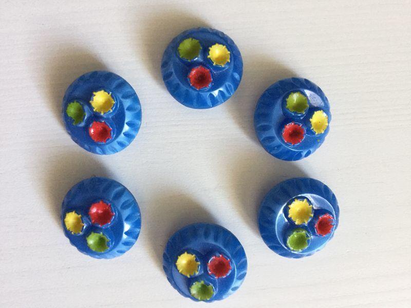 画像1: ヴィンテージ ブルーのガラスボタン (1)