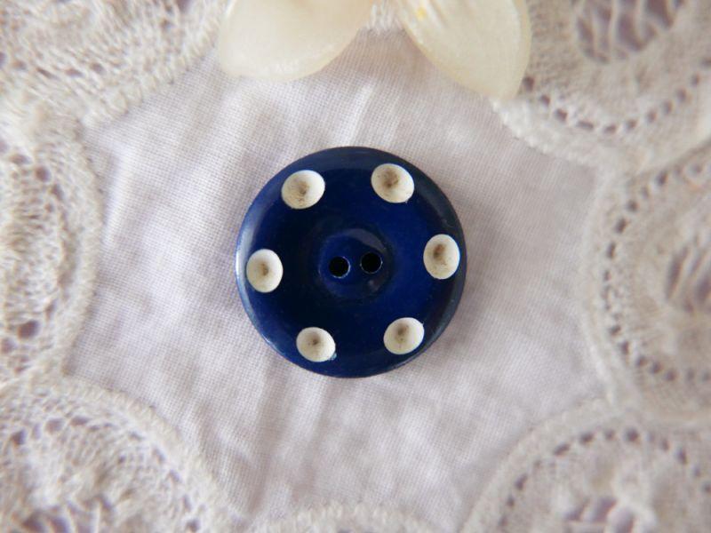 画像1: フランスヴィンテージ ドットボタン BlueMarine 22mm (1)