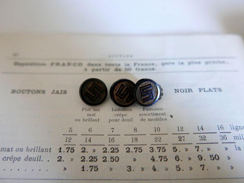 """画像1: フランスアンティーク 1900年代フレンチジェットボタン 金彩""""S"""" 14mm (1)"""