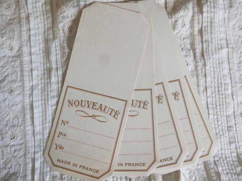 画像1: フランスアンティーク NOUVEAUTÉタグ 5枚セット (1)